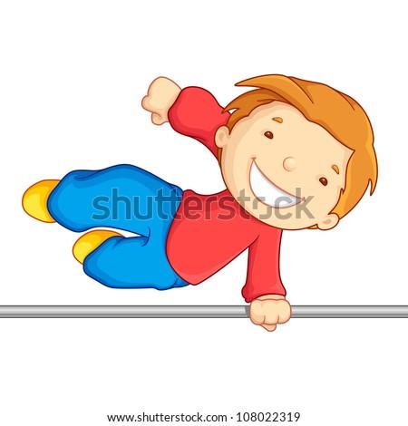 Editable vector illustration of boy crossing over a high bar
