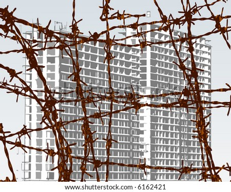 Editable vector illustration of building behind barbed wire with building and wire as separate objects