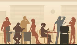 Editable vector illustration of business people in an office all talking on cellphones