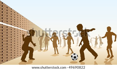 Editable vector illustration of children playing football in a playground