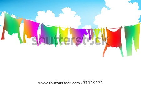 Editable vector illustration of colorful clothes on a washing line