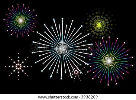 editable vector illustration of fireworks display