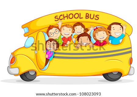 Editable vector illustration of happy children on school bus