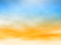Editable vector illustration of high misty clouds in a blue and orange sky made with a gradient mesh
