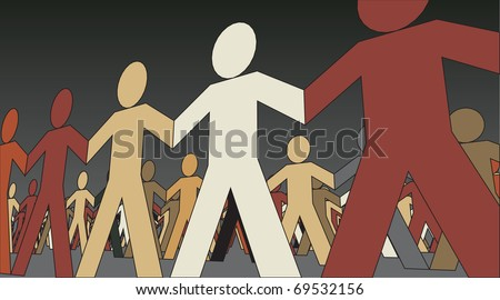 Editable vector illustration of lines of paper men - stock vector