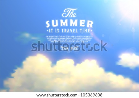 Editable vector illustration of shine white clouds in a blue sky with summer sun made using a gradient mesh