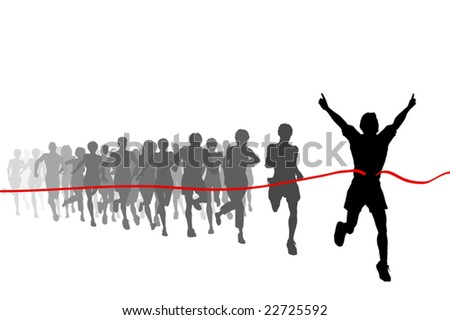 Editable vector illustration of the winner of a race with all figures as separate objects