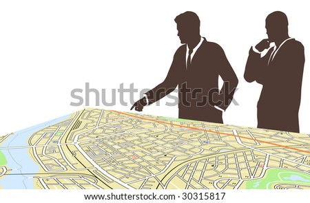 Editable vector illustration of two men standing by a generic city map