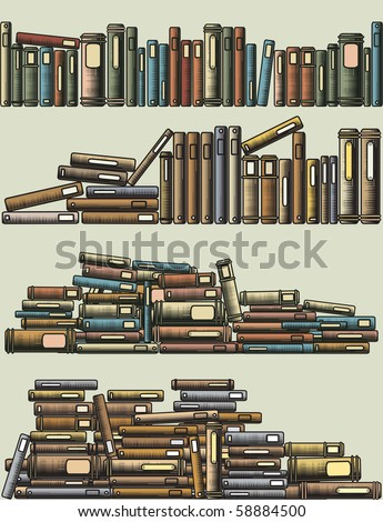 Editable vector illustrations of rows and piles of books as foreground design elements