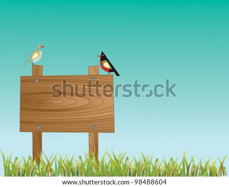 Editable vector illustrator of two birds and wooden board