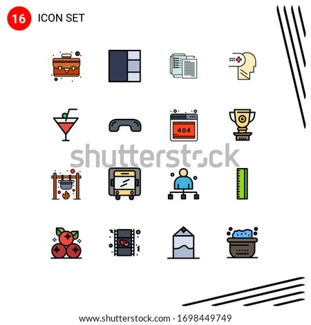 Editable Vector Line Pack of 16 Simple Flat Color Filled Lines of decline; food and restaurant; wlan; drink; medical Editable Creative Vector Design Elements