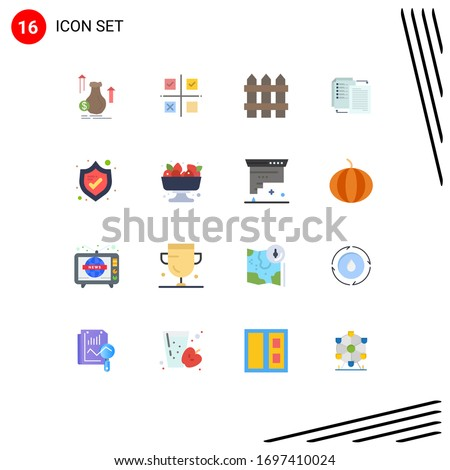 Editable Vector Line Pack of 16 Simple Flat Colors of wlan; share; product; file; security Editable Pack of Creative Vector Design Elements