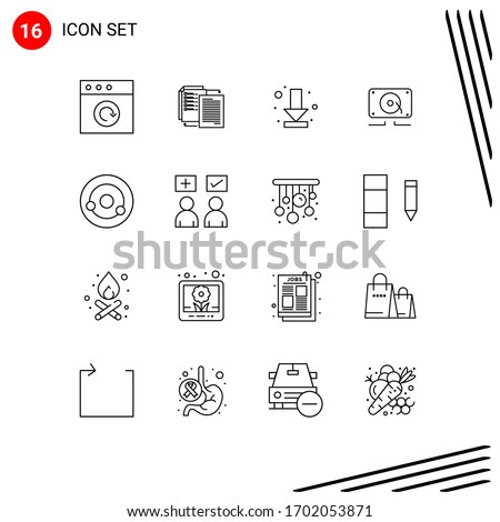 Editable Vector Line Pack of 16 Simple Outlines of biology; loud; download; speaker; music Editable Vector Design Elements