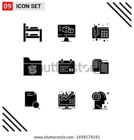 Editable Vector Line Pack of 9 Simple Solid Glyphs of day; calendar; phone; canada; science Editable Vector Design Elements