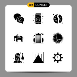 Editable Vector Line Pack of 9 Simple Solid Glyphs of house; apartment; astronomy; animal; space Editable Vector Design Elements