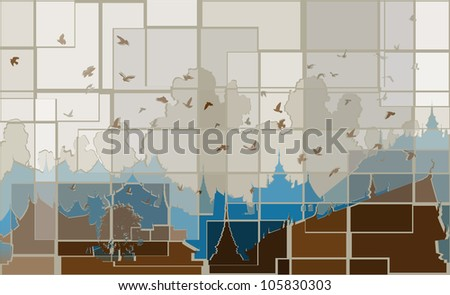 Editable vector mosaic design of birds over a generic east asian city
