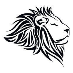 Editable vector of lion head tribal tattoo logo