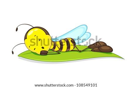 Editable vector of of bee sleeping on leaf