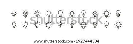 Editable vector pack of bulb line icons. Trendy stroke signs for website, apps and UI. Premium set of bulb thin line icons.