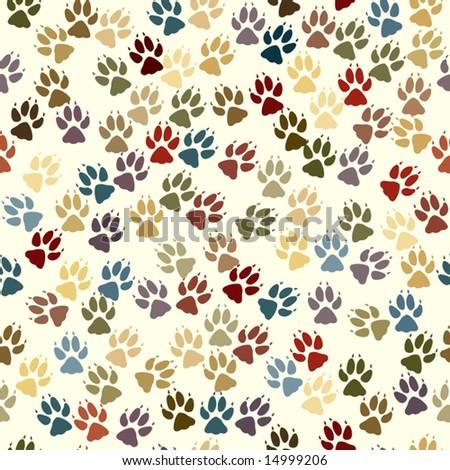 Editable vector seamless tile of dog paw prints