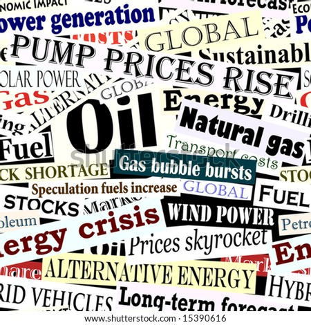 Editable vector seamless tile of energy headlines