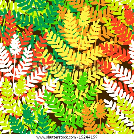 Editable vector seamless tile of fern leaves