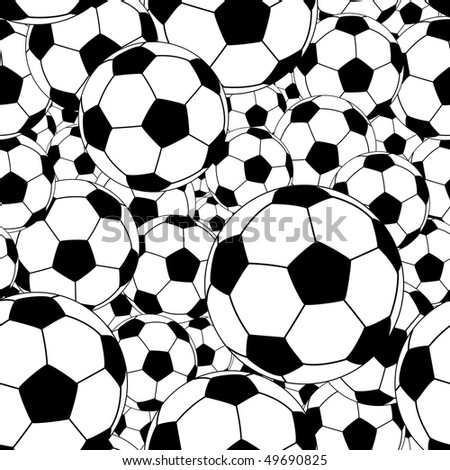 Editable vector seamless tile of soccer balls