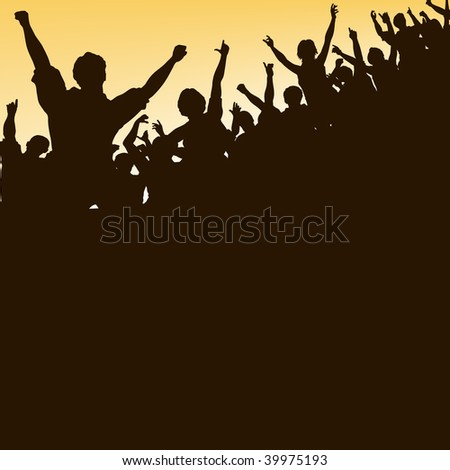 Editable vector silhouette looking up at a celebrating crowd - stock vector