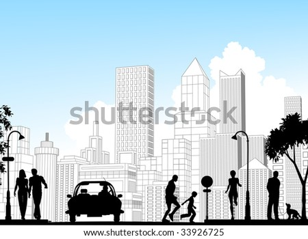Editable vector silhouette of a busy street with city buildings as background; all silhouette elements as separate objects.