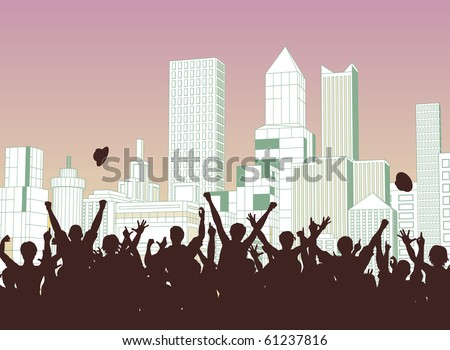 Editable vector silhouette of a crowd celebrating on a city street