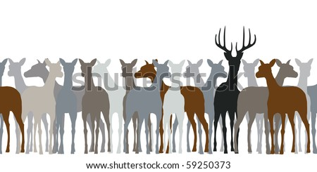 Editable vector silhouette of a herd of deer