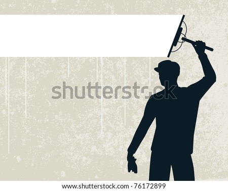 Editable vector silhouette of a man cleaning a background stripe