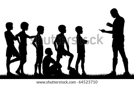 Editable vector silhouette of a man coaching children football