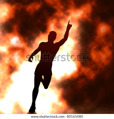 Editable vector silhouette of a running man with raised arm and fiery smoke behind with background made using a gradient mesh