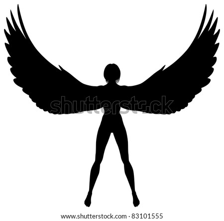 Editable vector silhouette of a woman or angel with wings