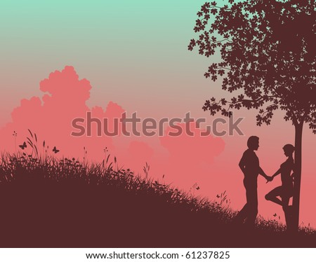 Editable vector silhouette of a young couple in a field with people, tree and grass as separate elements - stock vector