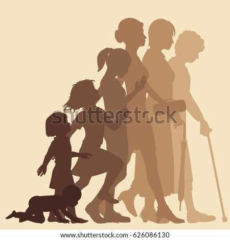 Editable vector silhouette sequence of the life stages of a woman with figures as separate objects