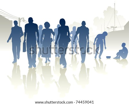 Editable vector silhouettes of a woman from a crowd giving to a beggar - stock vector