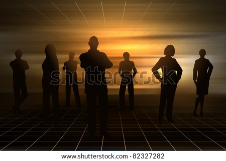 Editable vector silhouettes of business people with background made using a gradient mesh