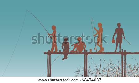 Editable vector silhouettes of children fishing from a wooden jetty