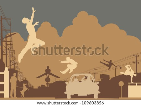 Editable vector silhouettes of men doing parkour in an urban street scene