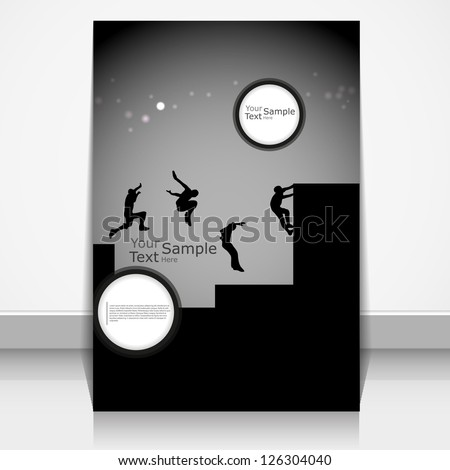 Editable vector silhouettes of men doing parkour on magazine cover
