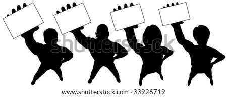 Editable vector silhouettes of people holding cards upwards, with cards as separate easily replaceable objects.