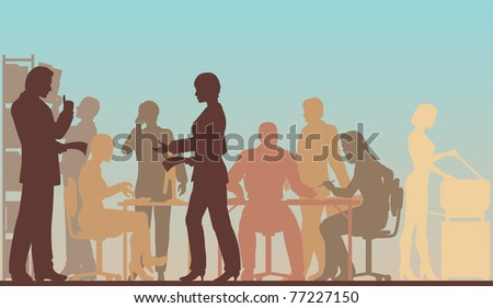Editable vector silhouettes of people in a busy office