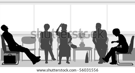 Editable vector silhouettes of people sitting in a waiting room