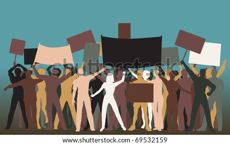 Editable vector silhouettes of protesters and banners