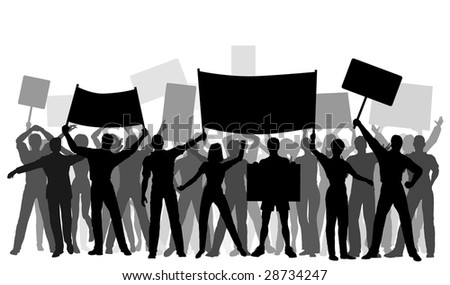 Editable vector silhouettes of protesters and banners with all elements as separate objects