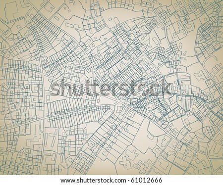 Editable vector sketch blueprint of a detailed generic street map without names