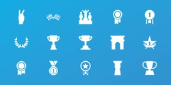 Editable 15 victory icons: arc de triomphe, trophy, medal, finish flag, 1st place star, olive wreath, ranking, number 1 medal