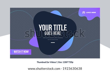 Editable Video Thumbnail design for videos Customizable Gradient style video thumbnail design Colorful Thumbnails design or video cover poster design creative thumbnail template Customizable Thumbnail Foto stock ©